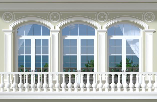 Fachada com janelas arqueadas e vista para o mar