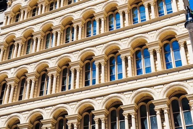 Fachada, de, predios, com, arquitetura clássica