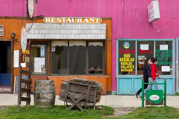 Fachada de um restaurante, puerto natales, patagônia, chile Foto Premium