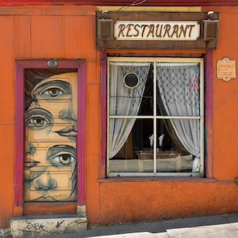 Fachada, de, um, restaurante, valparaiso, chile