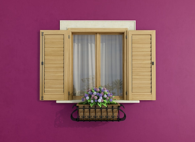 Fachada roxa com janelas fechadas