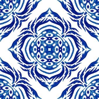 Faiança italiana, ilustração em aquarela decoração de faiança italiana sobre ladrilhos de cerâmica, em tons de azul