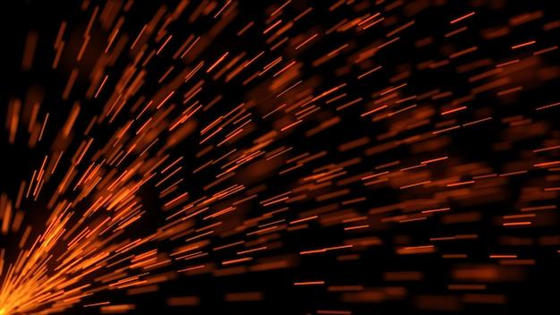 Faíscas voando para o lado em ilustração 3d câmera lenta