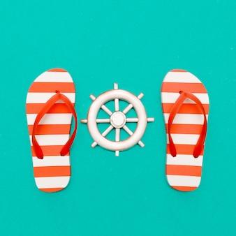 Faixa favorita. estilo de praia. chinelos e mar. arte mínima