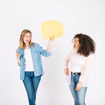 Falando, mulheres, com, balão fala