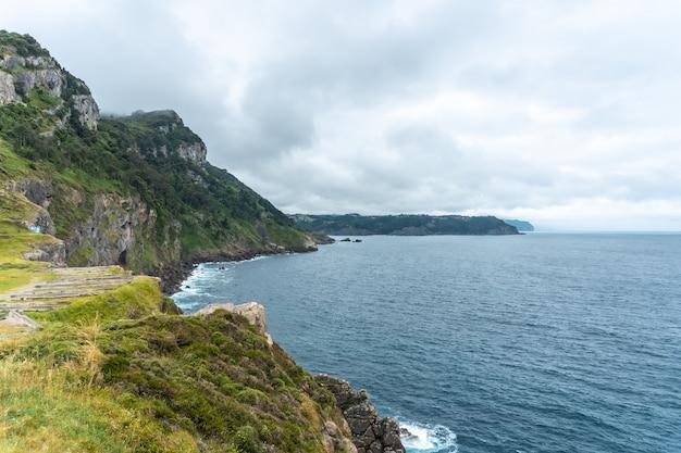Falésias junto ao farol de santa catalina de lekeitio numa manhã nublada de primavera, com o mar ao fundo, paisagens de bizkaia