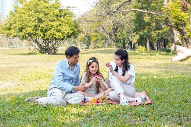 Família asiática relaxada no parque