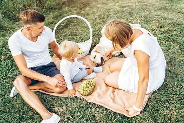 Família bonito jovem piquenique com cachorro