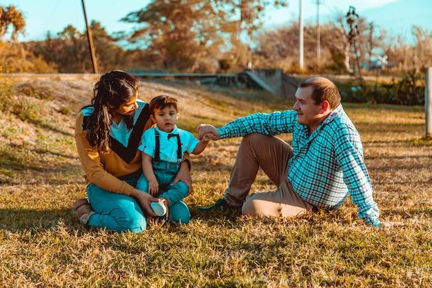 Família, com, filho sentando, em, capim