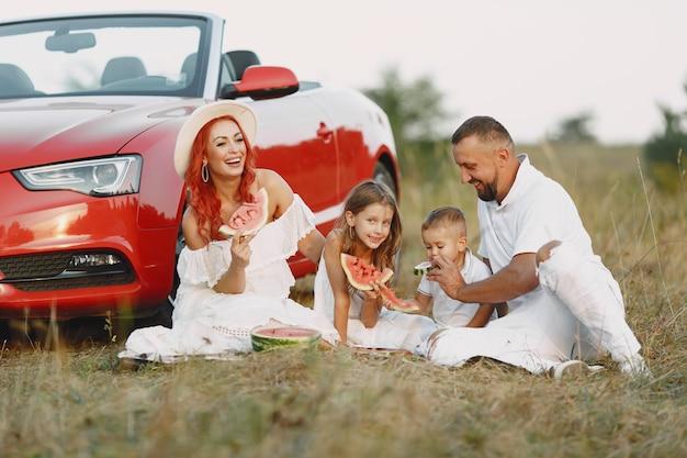 Família com melancia. pai em uma camiseta branca. pessoas em um piquenique.