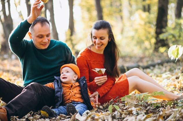 Família com seu filho pequeno em um parque de outono