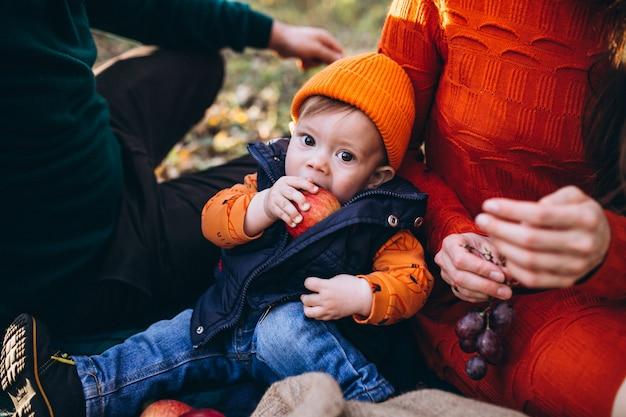 Família com seu filho pequeno fazendo piquenique no parque
