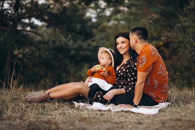 Família com sua filha fazendo piquenique em um campo