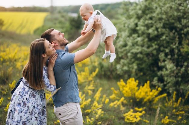 Família, com, toddler, filha