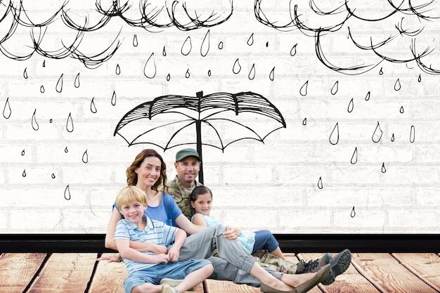 Família com um desenho de chuva sobre eles