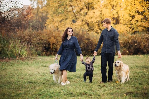 Família com uma criança e dois retrievers dourados em um parque de outono