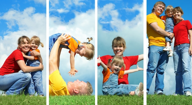 Família de beleza na grama verde sob o céu azul