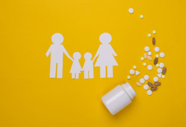 Família de corrente de papel, comprimidos de garrafa em amarelo, conceito de seguro saúde