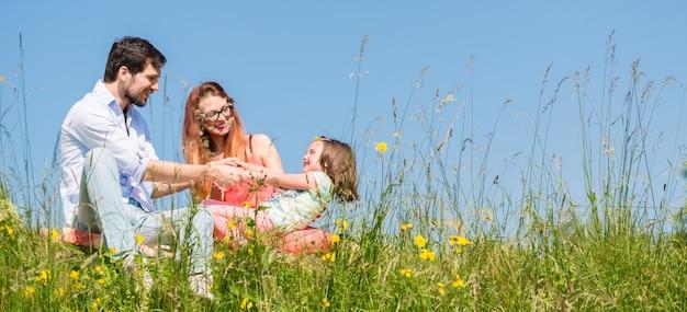 Família de mãos dadas no verão na grama