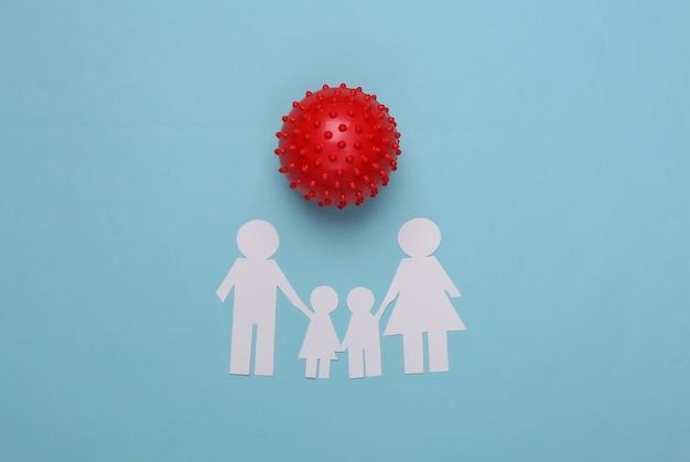 Família de papel unida e cepa modelo do vírus em um azul. covid-19