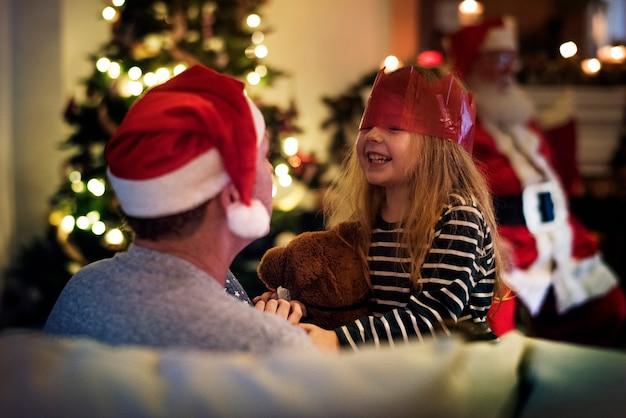 Família, desfrutando, feriado natal