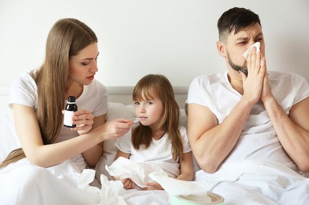 Família doente em casa