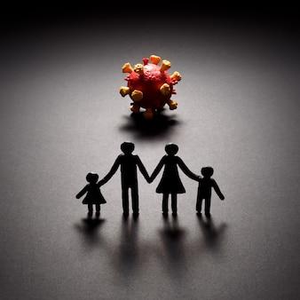Família em quarentena. pandemia de infecção por coronovírus covid-19
