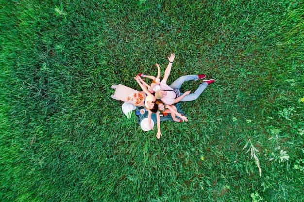 Família faz piquenique divertido com pizza em vista aérea da grama verde