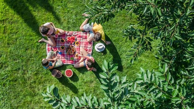 Família feliz com crianças fazendo piquenique no parque, pais com crianças sentadas na grama do jardim e comer refeições saudáveis ao ar livre, vista aérea do zangão de cima, férias em família e conceito de fim de semana