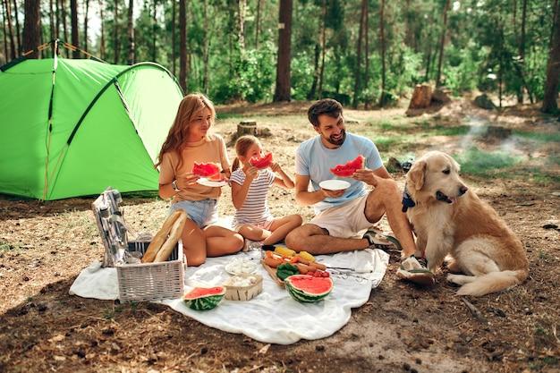 Família feliz com uma criança e um cachorro em um piquenique sentar em um cobertor perto da tenda e comer comida frita e melancia durante o fim de semana na floresta. acampar, recreação, caminhadas.