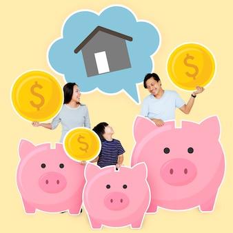 Família feliz economizando para sua futura casa