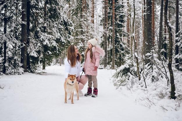 Família feliz, jovem mãe e uma linda garotinha com outwear quente rosa andando se divertindo com o cachorro shiba inu vermelho na floresta de inverno frio branco nevado ao ar livre Foto Premium