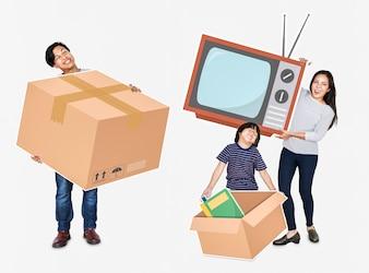 Família feliz, movendo-se para uma nova casa