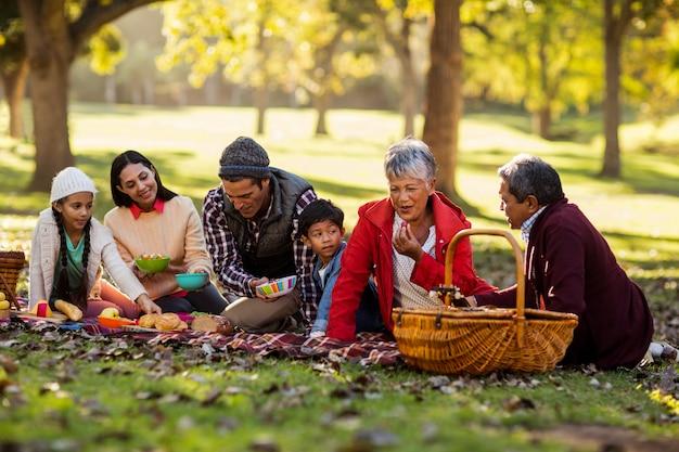 Família feliz relaxante no parque