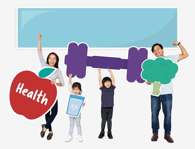 Família feliz, segurando, condicão física, ícones