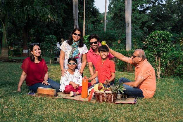 Família indiana desfrutando piquenique - multi geração de família asiática sentada no gramado ou grama verde no parque com cesta de frutas, esteira e bebidas. foco seletivo