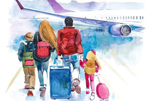 Família indo para ilustração em aquarela de avião