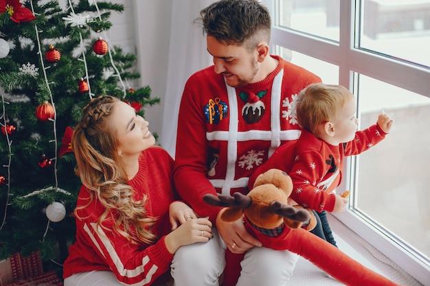 Família jovem bonito sentado em casa