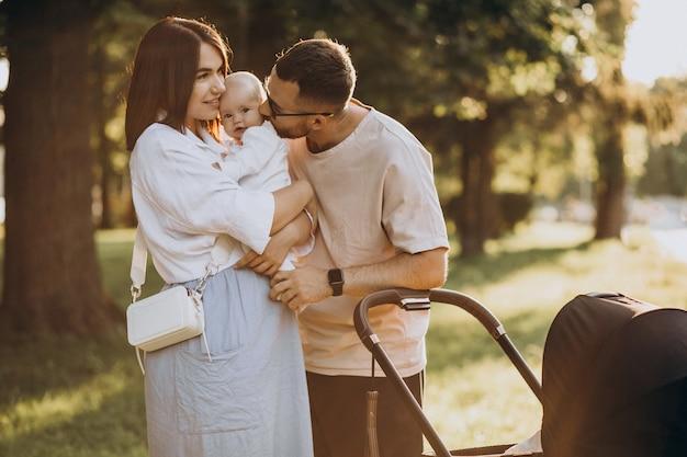 Família jovem caminhando com bebê no parque
