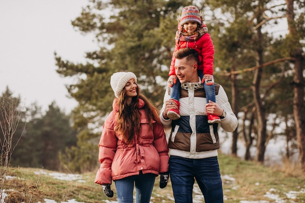 Família jovem caminhando juntos na floresta no inverno