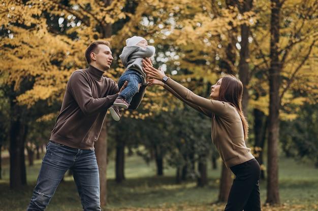 Família jovem com filho bebê no parque