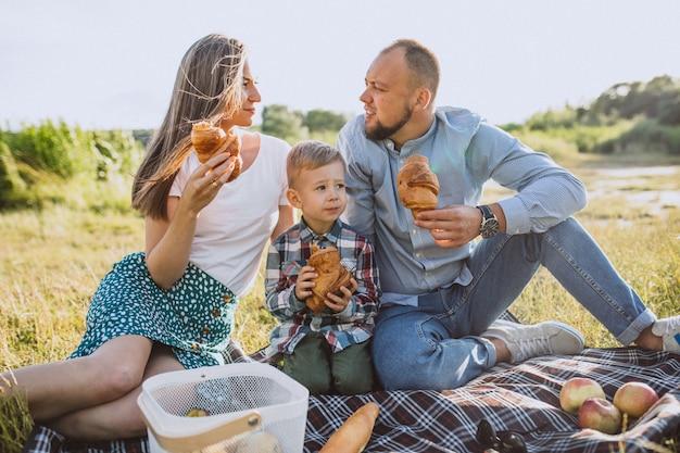 Família jovem com filho pequeno fazendo piquenique no parque