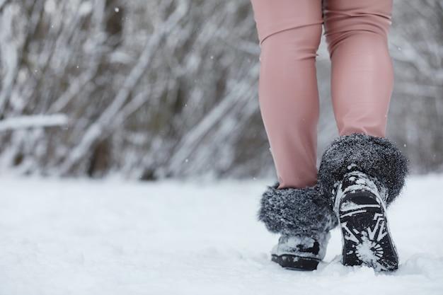 Família jovem com filhos está caminhando no parque de inverno. caminhada de inverno dos pais com filhos. caminhando no fim de semana do feriado no inverno.
