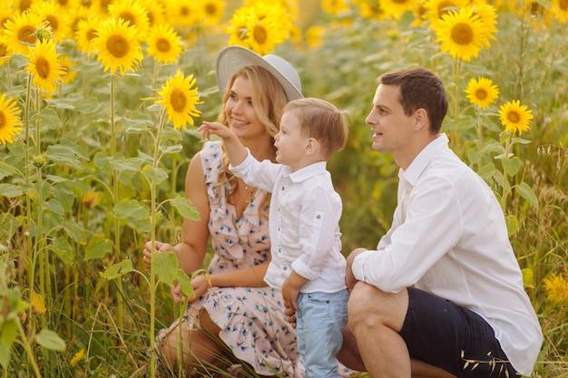 Família jovem feliz, pai mãe e filho, estão sorrindo, segurando e abraçando no campo de girassol