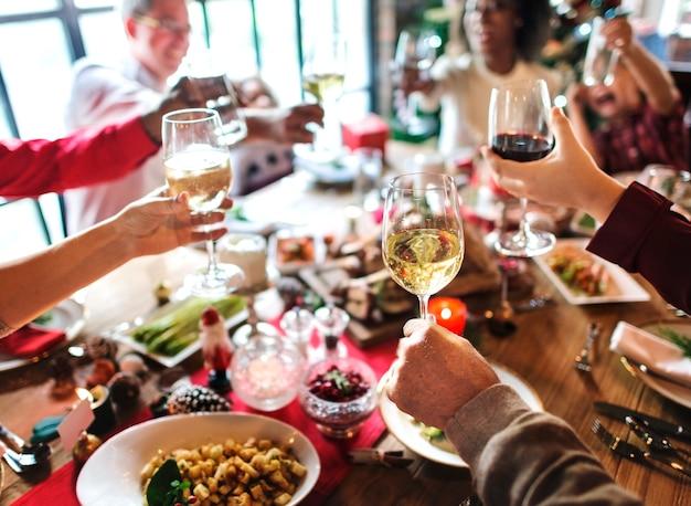 Família, junto, celebração natal, conceito