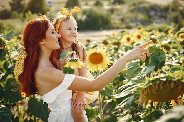 Família linda e fofa em um campo com girassóis