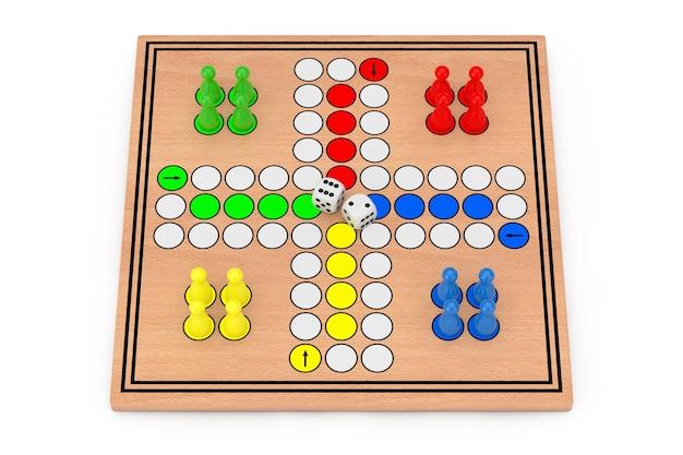 Família ludo desk jogo de mesa de madeira em um fundo branco. renderização 3d