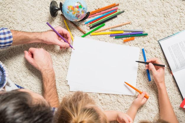 Família, quadro, chão
