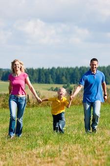Família tendo andar no prado