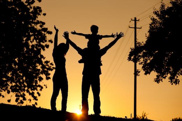 Família tendo caminhar ao pôr do sol